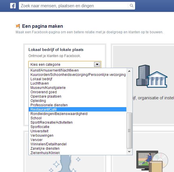 FB Categorie kiezen