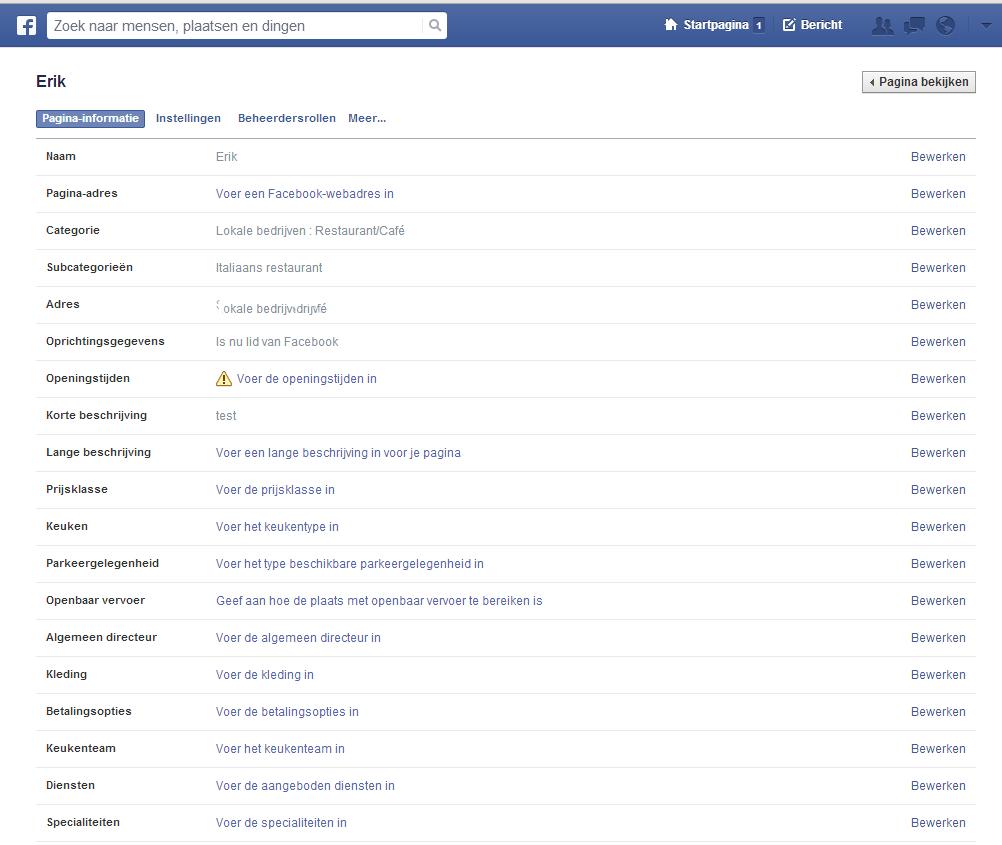 FB instellingen